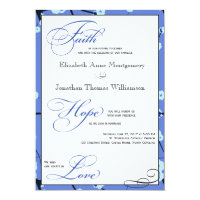 Periwinkle Modern Christian Wedding Invitations
