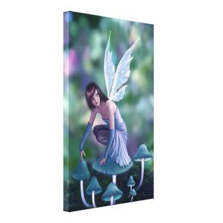 Periwinkle Mushroom Fairy Wrapped Canvas Print