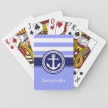 "Periwinkle Navy Blue Nautical Stripe Anchor 1ICBR Playing Cards<br><div class=""desc"">Preppy Stripes Stripes Pattern with Solid Color Block, White Nautical Anchor on Navy Blue, Name Monogram A stylish preppy nautical striped pattern with a white anchor a template for two initials. You can customize the text font, font color, font size and rotation, move or remove the sample text, add additional...</div>"