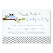 Periwinkle Owl Gray Chevron Baby Shower Book Card