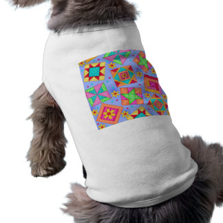 Periwinkle Patchwork Quilt Art Dog Sweater T-Shirt