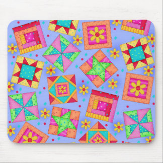 Periwinkle Patchwork Quilt Blocks Mousepad