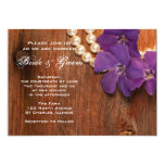 Periwinkle, Pearls and Barn Wood Country Wedding 5x7 Paper Invitation Card