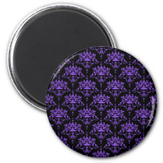Periwinkle Purple and Black Damask 2 Inch Round Magnet