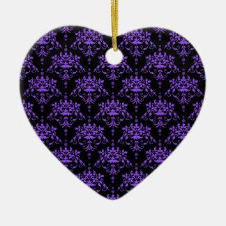 Periwinkle Purple and Black Damask Ceramic Ornament