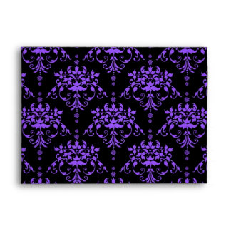 Periwinkle Purple and Black Damask Envelope