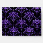 Periwinkle Purple and Black Damask Envelopes