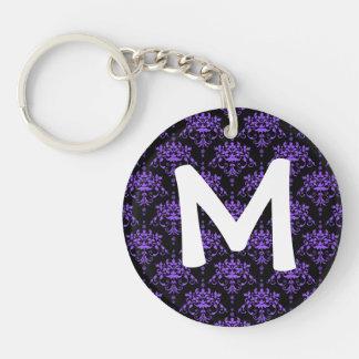 Periwinkle Purple and Black Damask Keychain
