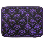 Periwinkle Purple and Black Damask Sleeves For MacBook Pro