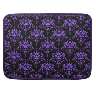 Periwinkle Purple and Black Damask Sleeve For MacBook Pro