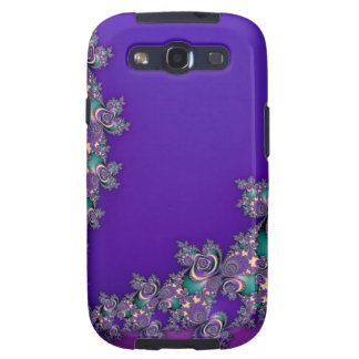 Periwinkle Purple and Mint Fractal Skins Samsung Galaxy S3 Covers