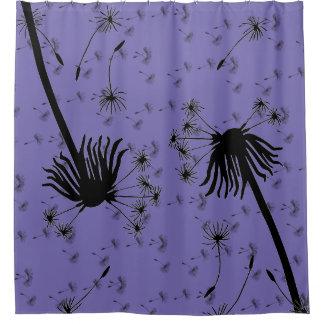 periwinkle purple dandelion wish shower curtain