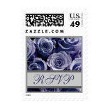 Periwinkle Purple & Silver Wedding RSVP Roses Stamps