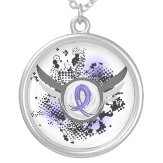 Periwinkle Ribbon And Wings Esophageal Cancer Silver Plated Necklace