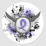 Periwinkle Ribbon And Wings Esophageal Cancer Round Stickers