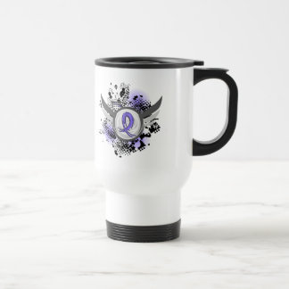 Periwinkle Ribbon And Wings Stomach Cancer 15 Oz Stainless Steel Travel Mug