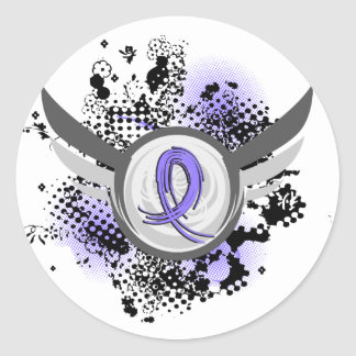 Periwinkle Ribbon And Wings Stomach Cancer Classic Round Sticker