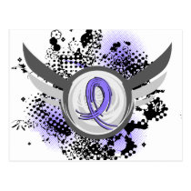 Periwinkle Ribbon And Wings Stomach Cancer Postcard