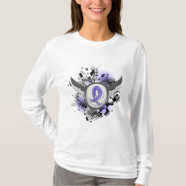 Periwinkle Ribbon And Wings Stomach Cancer T-Shirt