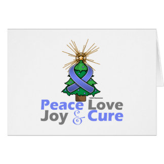 Periwinkle Ribbon Christmas Peace Love, Joy & Cure Greeting Card