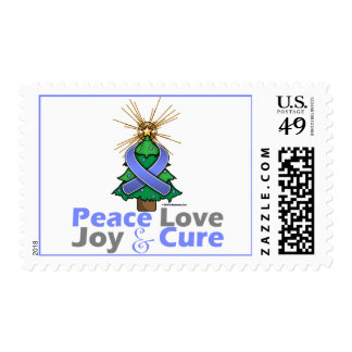 Periwinkle Ribbon Christmas Peace Love, Joy & Cure Postage