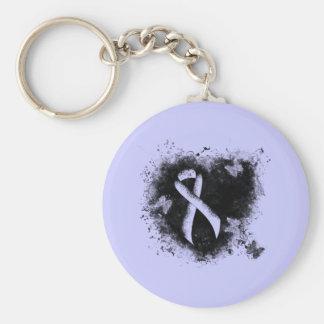 Periwinkle Ribbon Grunge Heart Keychain