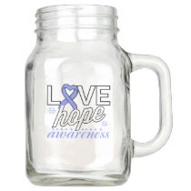 Periwinkle Ribbon Love Hope Awareness Mason Jar
