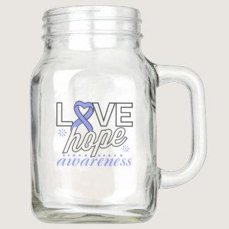 Periwinkle Ribbon Love Hope Awareness Mason Jar
