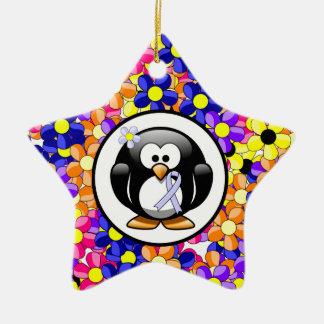 Periwinkle Ribbon Penguin Ceramic Ornament