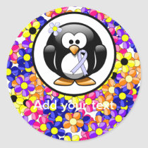 Periwinkle Ribbon Penguin Classic Round Sticker