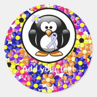 Periwinkle Ribbon Penguin Classic Round Sticker