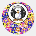 Periwinkle Ribbon Penguin Round Sticker
