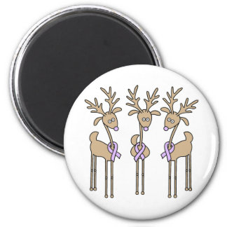 Periwinkle Ribbon Reindeer 2 Inch Round Magnet