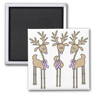 Periwinkle Ribbon Reindeer 2 Inch Square Magnet