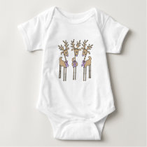 Periwinkle Ribbon Reindeer Baby Bodysuit