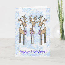 Periwinkle Ribbon Reindeer Holiday Card