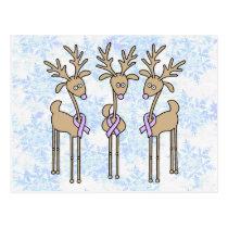 Periwinkle Ribbon Reindeer Postcard