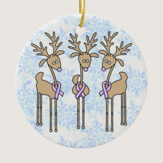 Periwinkle Ribbon Reindeer (Stomach Cancer) Ceramic Ornament
