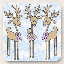 Periwinkle Ribbon Reindeer - Stomach Cancer Coaster