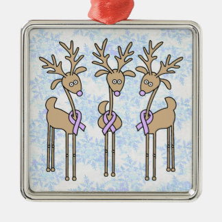 Periwinkle Ribbon Reindeer (Stomach Cancer) Metal Ornament