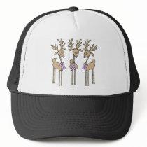 Periwinkle Ribbon Reindeer Trucker Hat