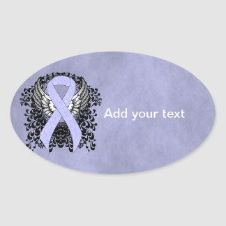 Periwinkle Ribbon with Wings Oval Sticker