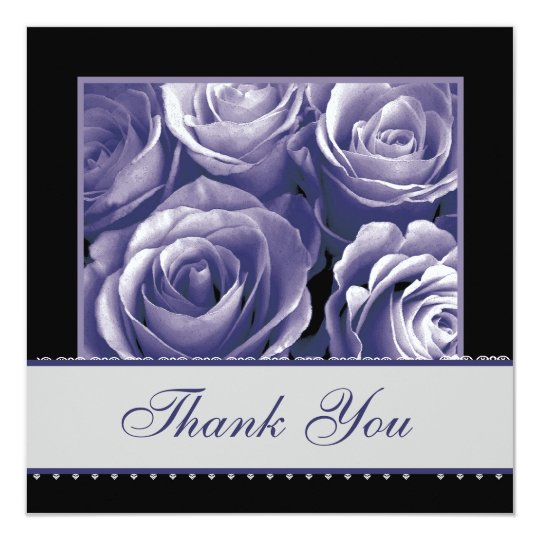 Periwinkle Roses Lace Wedding Thank You Card
