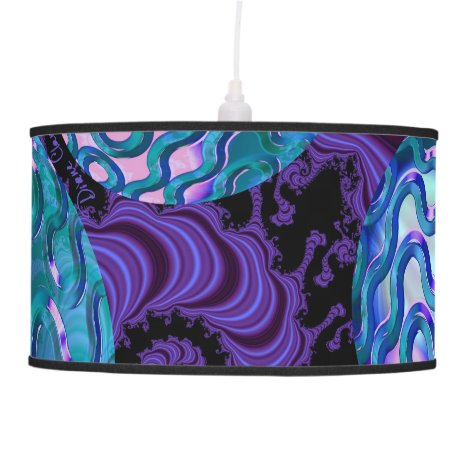 Periwinkle Sea Urchins Abstract Violet Purple Teal Pendant Lamp