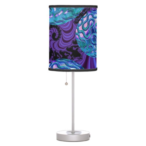 Periwinkle Sea Urchins Abstract Violet Purple Teal Table Lamp