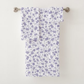 Periwinkle Small Floral Custom Color Bath Towels