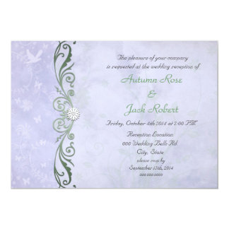 Periwinkle Spring Floral Wedding Reception Card