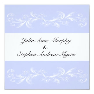 "Periwinkle Sweet Floral Wedding Invitations 5.25"" Square Invitation Card"
