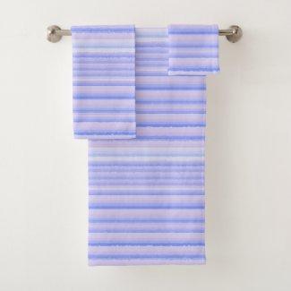 Periwinkle Watercolor Thin Stripe Bath Towels