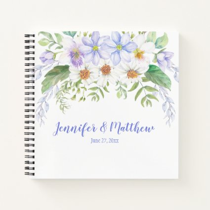 Periwinkle White Lavender Wildflowers Guestbook Notebook